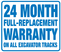 Excavator Rubber Tracks 24 month warranty