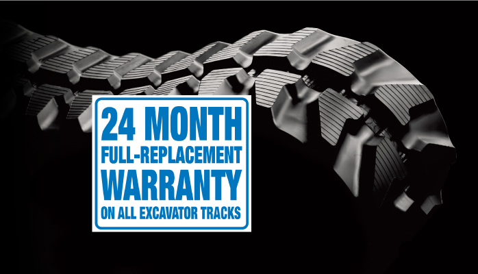 Excavator Rubber tracks 24 month full replacement warranty